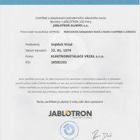 Elektroinstalace vrzal - certifikace - zabezpečení - jablotron