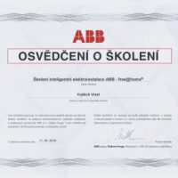 Elektroinstalace vrzal - certifikace - ABB