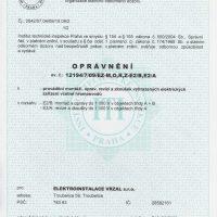 Elektroinstalace vrzal - certifikace / oprávnění