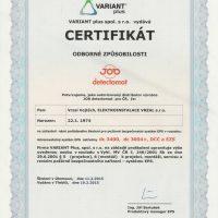 Elektroinstalace vrzal - certifikace - Variant Plus